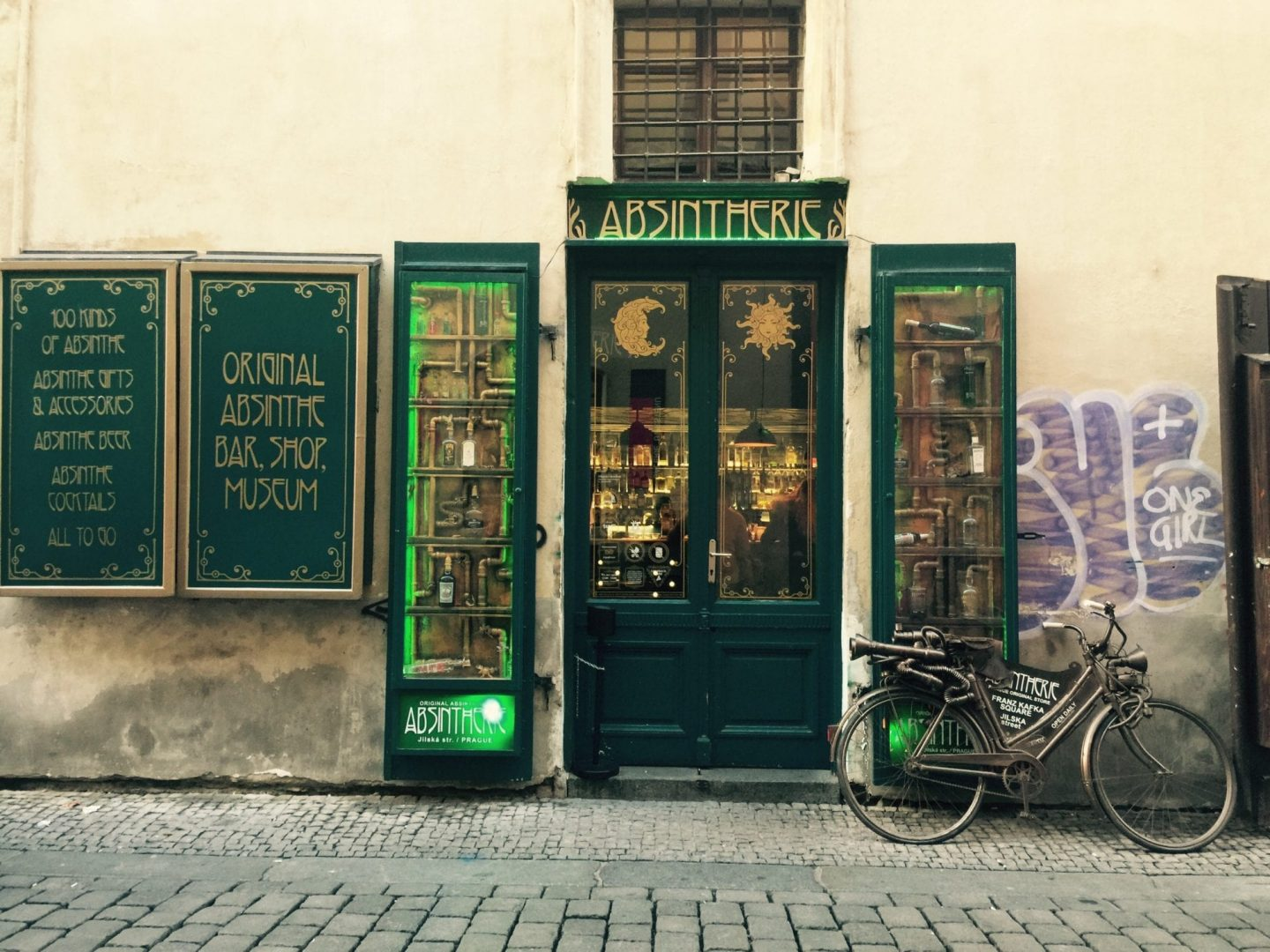 Front door of the famous czech bar Absintherie, famous for the absinthe-based drinks.
