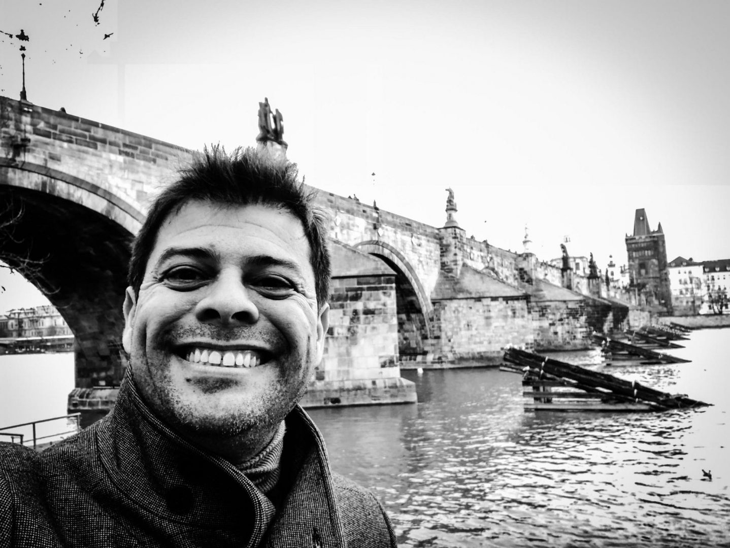 My trip selfie in front of the Charles Bridge, one of the most iconic sites of Prague.