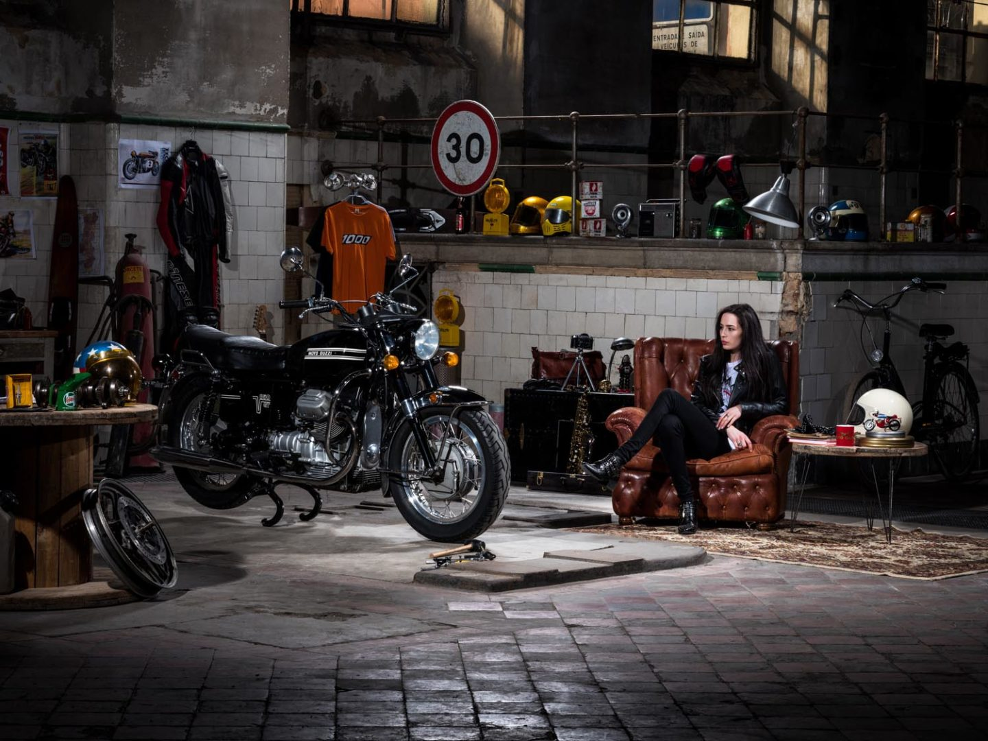Marina Oliveira day dreaming about taking the 1972 Moto-Guzzi V7 850 GT for a ride
