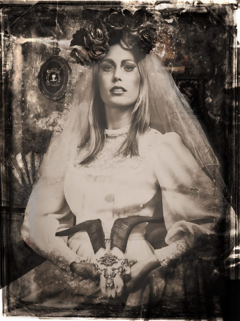 Portrait of a Bride with Skull, ambrotype.