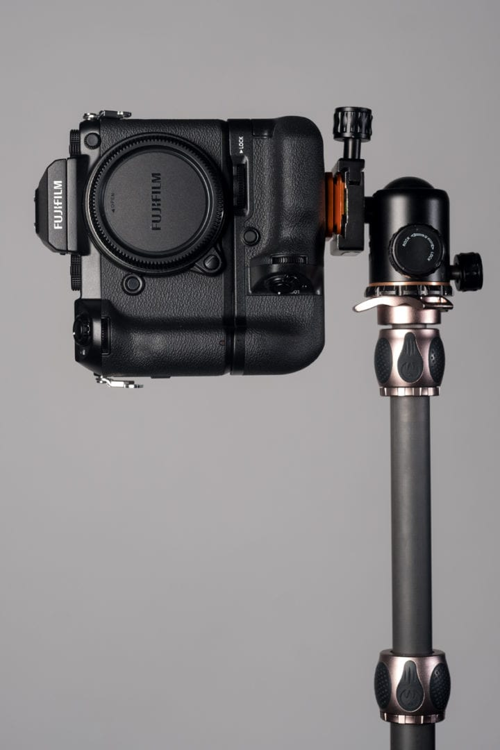 Fujifilm GFX 50s mounted with a standard plate on a 3Legged tripod