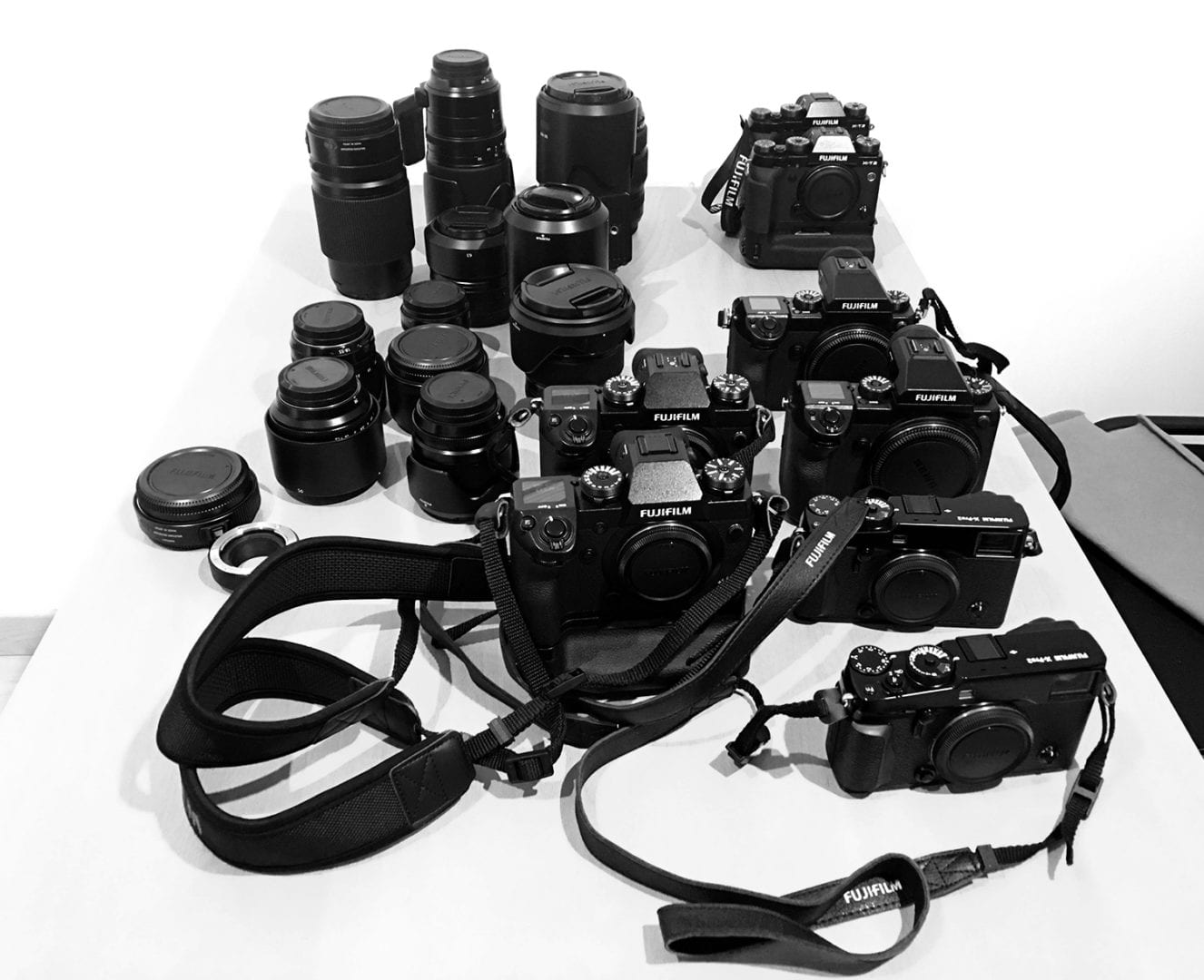 Big thanks to top FujiFilm France who loaned us some of their premium products like the Fujifilm GFX-50s, X-H1 and XT-2 and X-Pro 2 plus a beautiful collection of diverse glass pictured below.