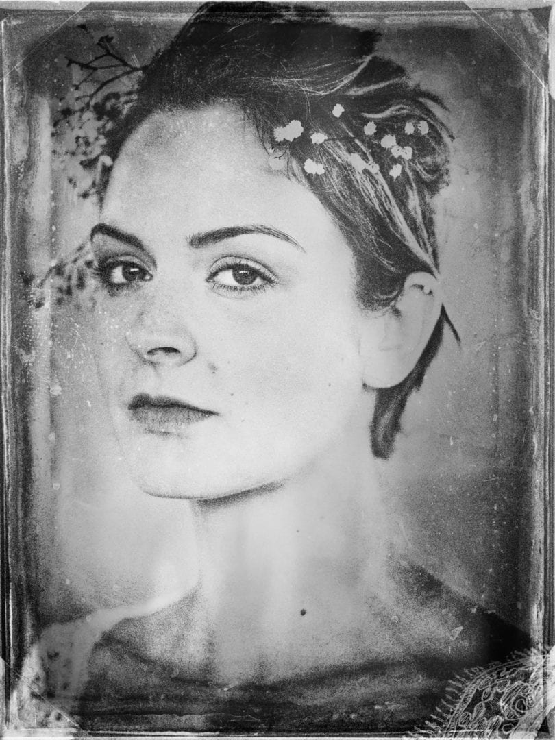 A wet plate style portrait of Emilie