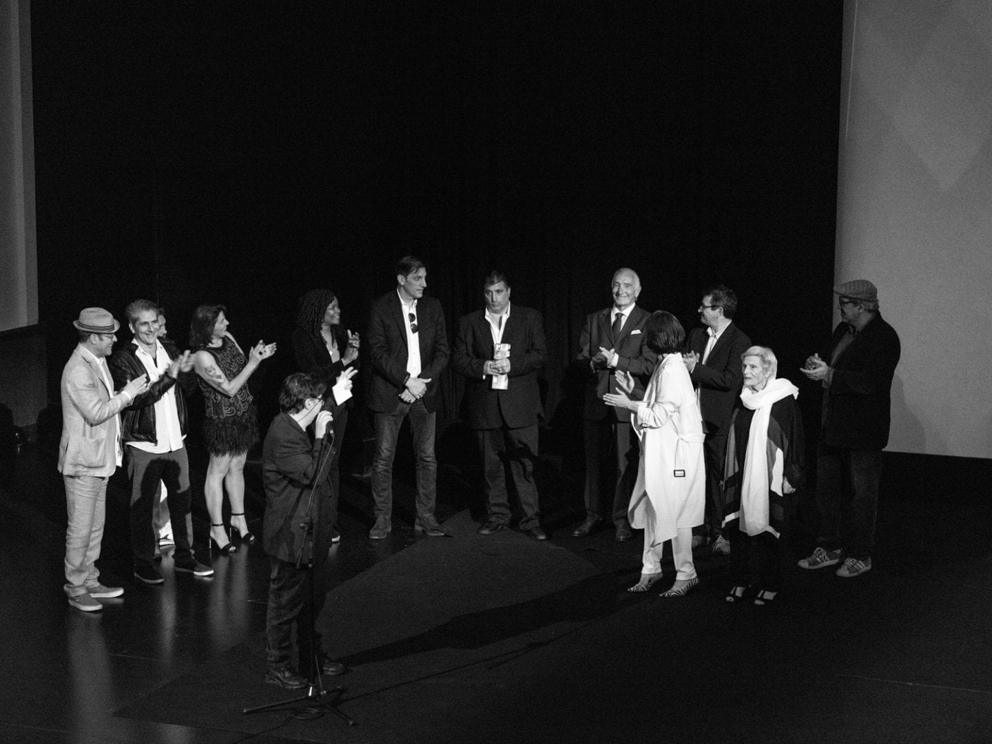 Bruno Almeida and the actors at the Cabaret Maxime Premiere.